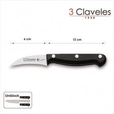 Cuchillo mondador mango negro. 3 Claveles.