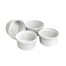 Set de 4 ramequines 6,5 Diámetro. Porcelana Blanca.