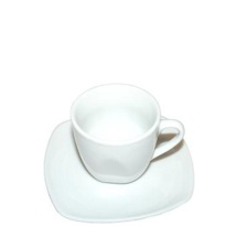 Taza Pocillo de café  con platillo semi cuadraro 90 cc Fairway.
