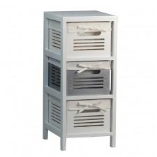 Mueble 3 estantes con cajones Blanco/Gris.
