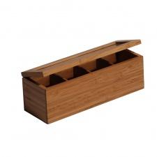 Caja para Te 4 divisiones Bamboo con tapa.