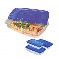 Recipiente Tupper set x 3 rectangular. 23 x 15.7 x 5 cm.
