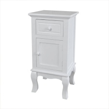 Mueble, mesa de luz, 2 cajones vintage Blanco.