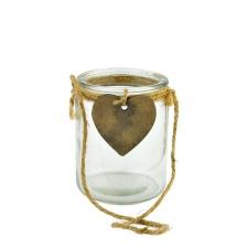 Votivo Portavela cilíndrico con corazón 8.5 x 8 x 10 cm.