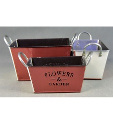 Maceta metal flower garden rectangular 20 x 22 x 13 cm.