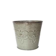 Maceta Metal Cónica Flor de Lis D16 x H14 cm.