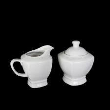 Lechera y azucarero 9x10+9cm ceramica blanca