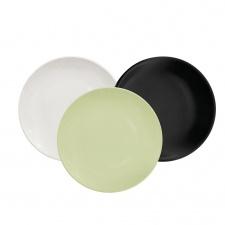 Plato de postre 22 cm. Porcelana Blanco Verde Negro