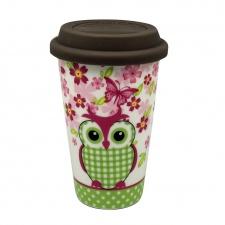 Vaso térmico 300 ml. de porcelana con tapa. Green Owl