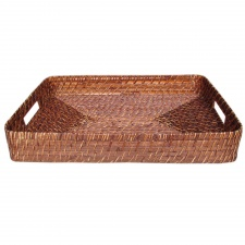 Bandeja rectangular bamboo rattan 47.5  x 33  x 7 cm.