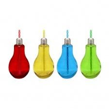 Bombita lampara mason con sorbito 9,5 x 18.5 cm. 375 ml colores.