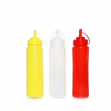 Pomo para aderezos 250 ml plástico rojo blanco amarillo goldsky