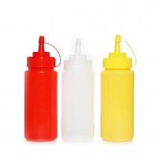 Pomo para aderezos 450 ml plástico rojo blanco amarillo goldsky