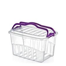 Caja plástica rectangular con cierre y manijas.