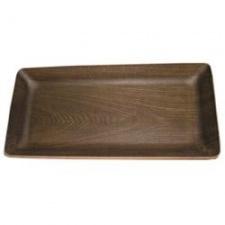 Fuente Selecta rectangular madera obscura 25x14/H3cm