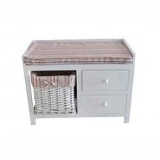 Mueble madera c/2 cajones y cesta blanco c/tela 64x34x48cm