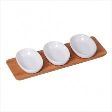 Copetinero c/3 bowls ovales 28x10x3.5cm blancos
