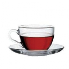 Taza té con plato 215 cc. Set x 6 piezas. Pasabahce.