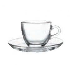 Taza cafe con plato 90 cc. vidrio. Set x 6 piezas. Pasabahce
