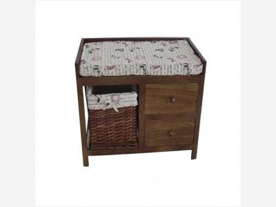 Mueble madera con 2 cajones y cesta de tela 64 x 34 x 48 cm.