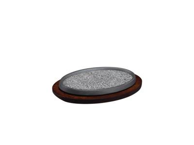 Piedra refractaria oval de cocción y servir en la mesa.