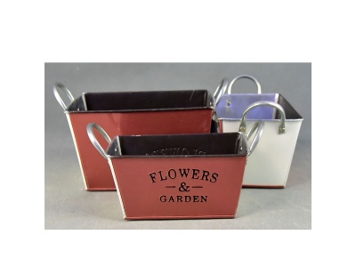 Maceta metal flower garden rectangular 16 x 18 x 9 cm.