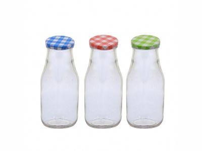 Botella leche vidrio 250 ml. con tapa.