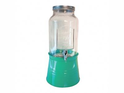 Dispensador de agua 5 lts leyenda ¨1899¨ con base turquesa.