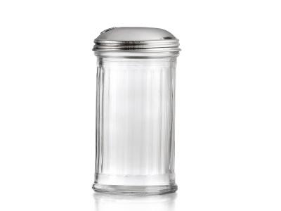 Azucarero de vidrio con tapa de metal 200 grs.