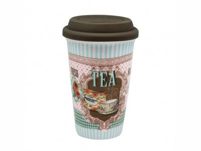 Vaso térmico 300 ml. de porcelana con tapa silicona. Tea Time.