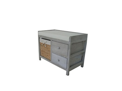 Mueble asiento madera 1 canasto + 2 cajones fibra natural 64 x 38 cm