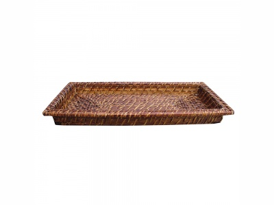 Bandeja rectangular bamboo rattan 21 x 40 x 4 cm.