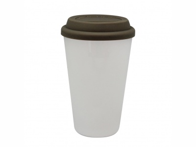 Vaso térmico 300 ml. de porcelana con tapa silicona.