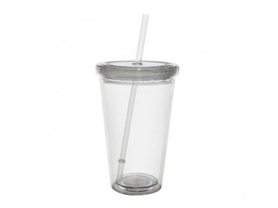 Vaso plástico 470 ml cuerpo y tapa transparente.