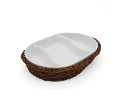 Copetinero cerámica con canasto mimbre 3 diviciones Corrina.