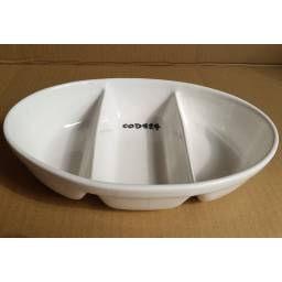 Copetinero Oval 3 reparticiones 28 x 20 Ceramica Goldsky