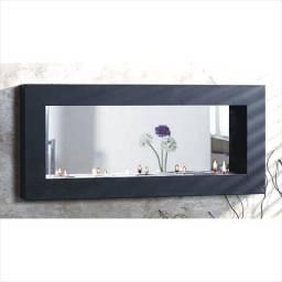 Espejo Borde Metal Negro 49 x 22 cm.