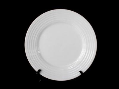 Plato llano con rayas. 26 cm.ceramica con averia