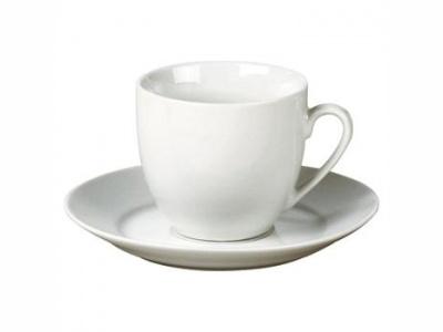 Taza de té cplato 220ml porcelana blanca Selecta