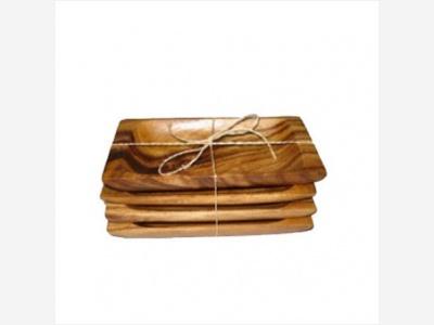 Bandeja rectangular de madera 16,5 x 9 x 2,5 cm. Set x 4 unidades.