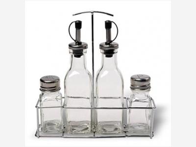 Aceitera Vinagrera Salero Pimentero de vidrio 200 ml.  50 ml.