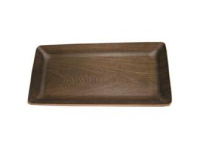 Fuente Selecta rectangular madera obscura 25x14H3cm