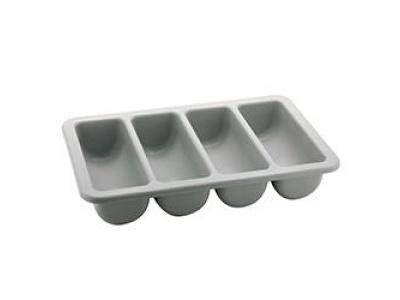 Cubiertera organizadora rectangular 4 divisiones 54 cm termoplástico gris.