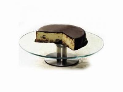 Plato para torta con pie de metal giratorio. Selecta.