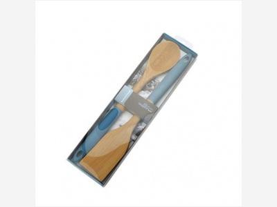 Espatula y cuchara de madera 35.5 cm. Anzo
