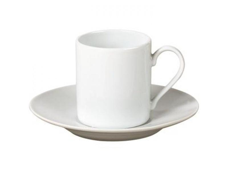 Taza de cafe c/plato 90ml porcelana blanca Selecta