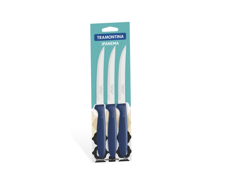 Cuchillo de asado Ipanema azul x 3 unid Tramontina