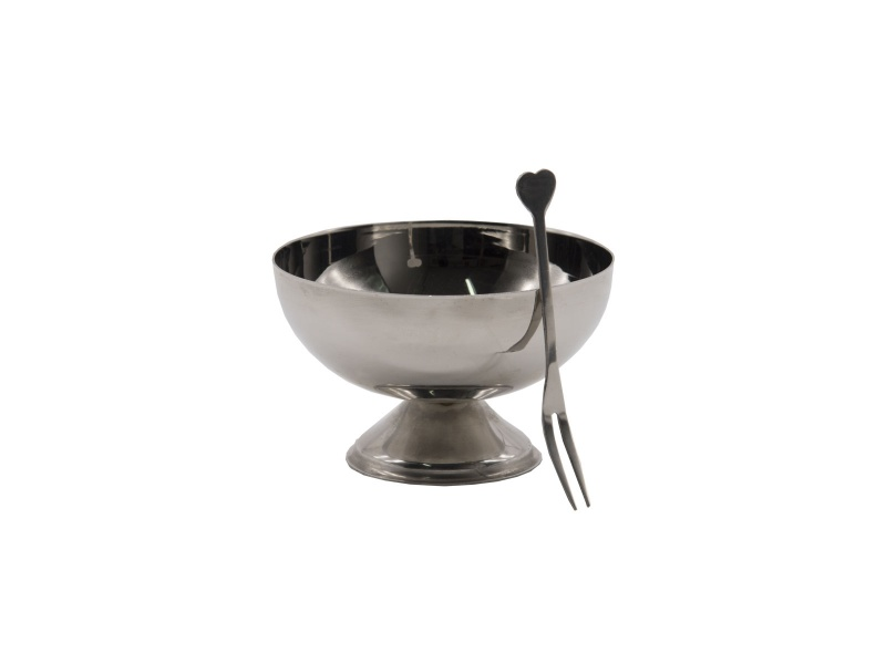 Bowls c/tenedor acero inoxidable 10,5 x 6,5 cm.
