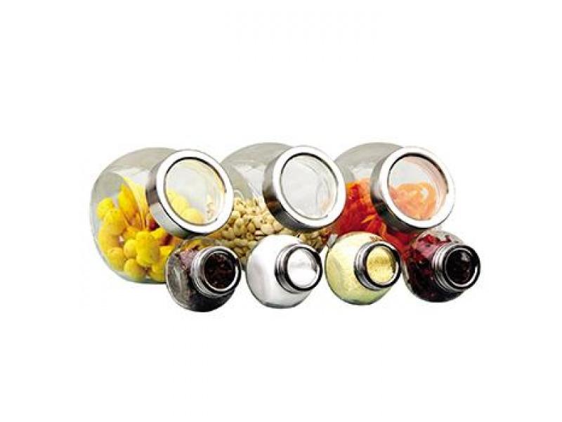 Frascos vidrio recipientes redondos 3 x 1500ml y 4 x 200ml Selecta