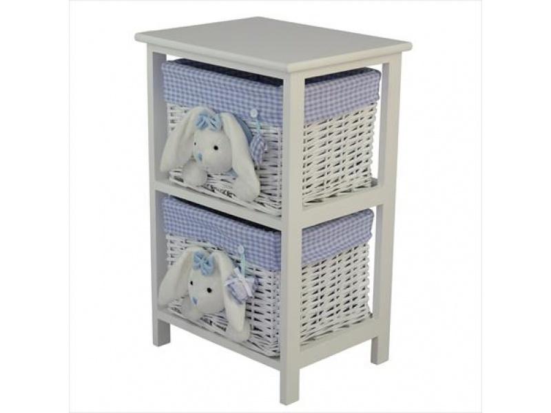 Mueble Blanco 2 cajones conejo Celeste 41x32x63 cm